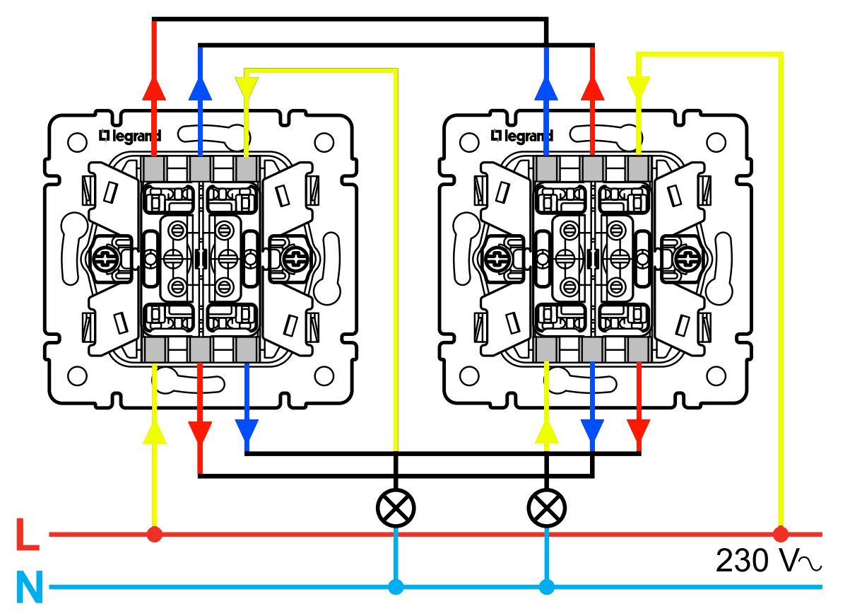 Схема подключения проходного выключателя одной точки