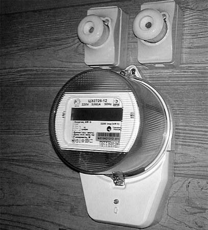 Электрический счетчик с керамическими пробками без кнопок