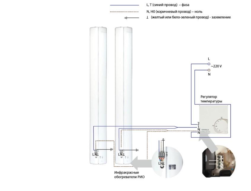 Схема подключения двух ИК обогревателей